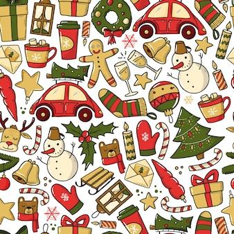 Weihnachtsanzeige neujahr nahtloses muster für drucke