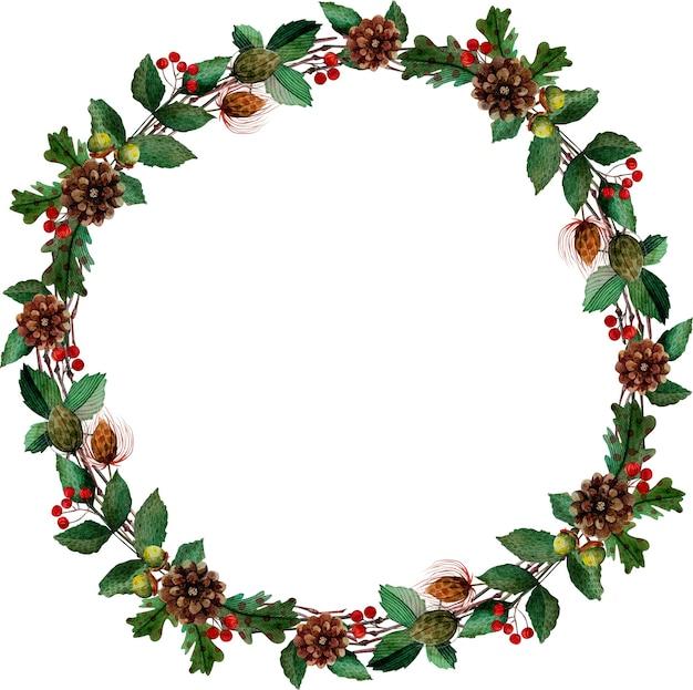 Weihnachtsaquarell-feiertagskranz
