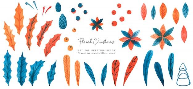Weihnachtsaquarellblumensatz mit poinsettia und stechpalme und kiefer