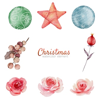 Weihnachtsaquarellelement-handmalerei