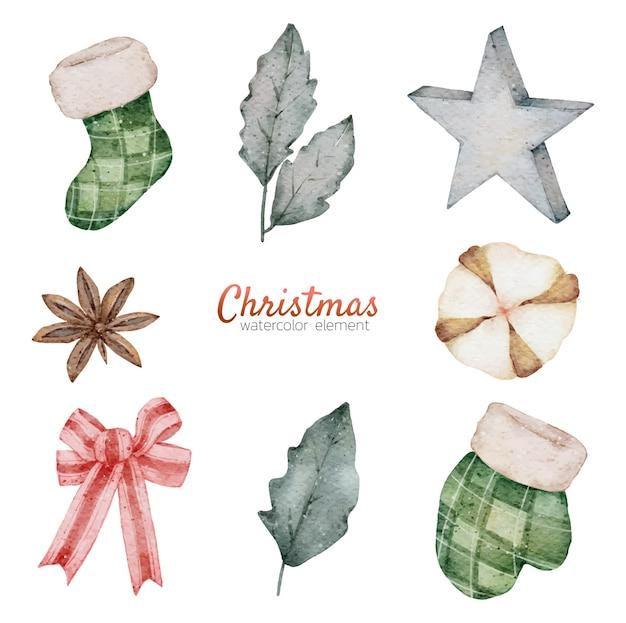 Weihnachtsaquarellelement-handmalerei Premium Vektoren