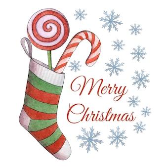 Weihnachtsaquarellillustration. ein strumpf mit lutschern. weihnachtskarte.