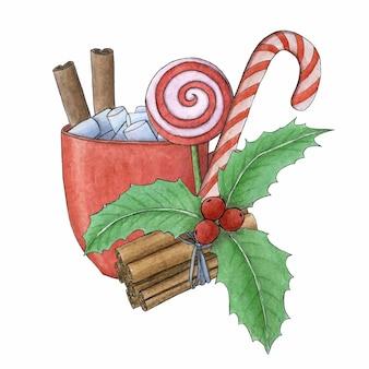 Weihnachtsaquarellillustration. eine tasse heißes getränk mit marshmallows. weihnachtskarte.