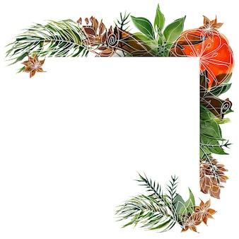 Weihnachtsaquarellrahmen mit kiefer und weihnachtsstern und orangen- und wintergewürzen. passender rahmen mit platz für text für weihnachts- und neujahrsgrüße und einladungen