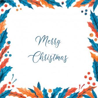 Weihnachtsaquarellrahmen mit stechpalmenblättern