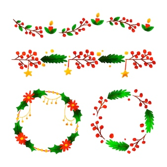 Weihnachtsaquarellrahmen und -grenzen