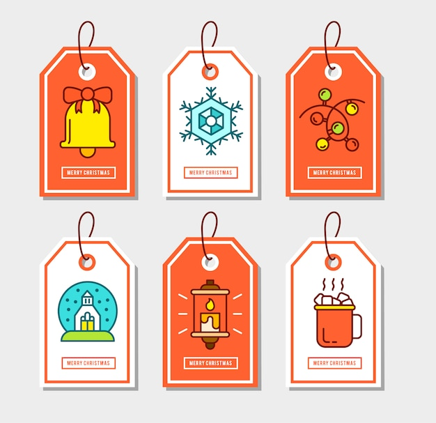 Weihnachtsaufkleber eingestellt mit flachen ikonen.