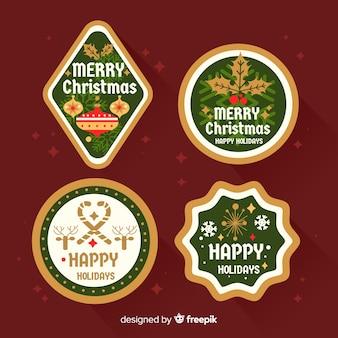 Weihnachtsaufkleber im flachen design