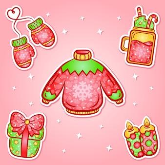 Weihnachtsaufkleber mit farbverlauf