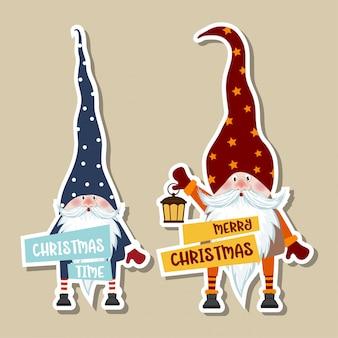 Weihnachtsaufkleber-sammlung mit niedlichen gnomen und wünschen.