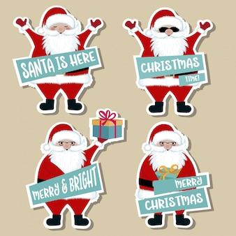 Weihnachtsaufkleber-sammlung mit weihnachtsmann