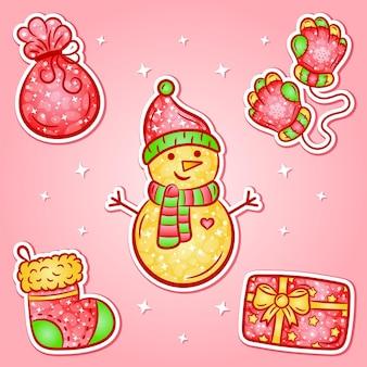 Weihnachtsaufkleber-set mit farbverlauf