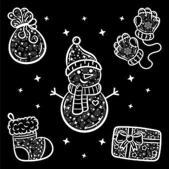 Weihnachtsaufkleber-set-skizze mit weißem strich