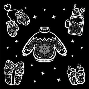 Weihnachtsaufkleber set skizze mit weißem strich