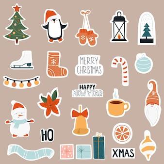 Weihnachtsaufkleber-symbolsatz.