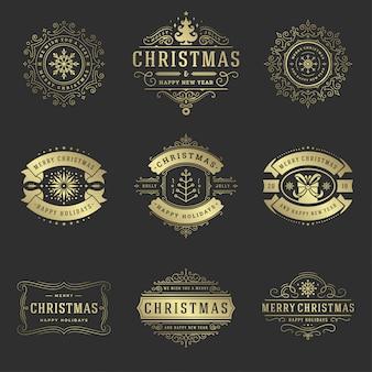 Weihnachtsaufkleber und ausweiselementsatz