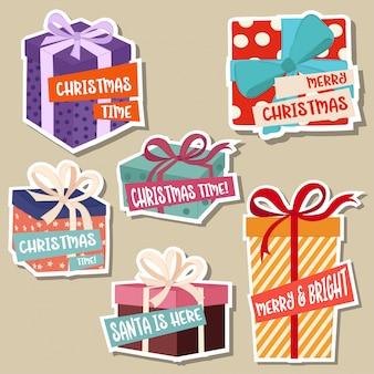 Weihnachtsaufklebersammlung mit geschenkboxen