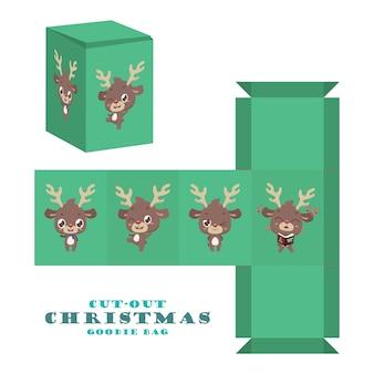 Weihnachtsausschnitt-goodie-tasche mit niedlichem rentier