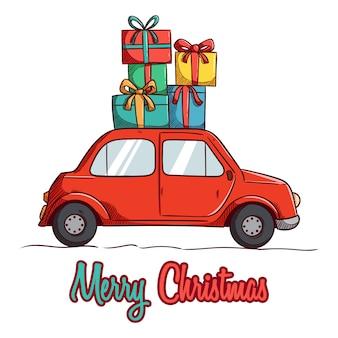 Weihnachtsauto mit bringen viele geschenke
