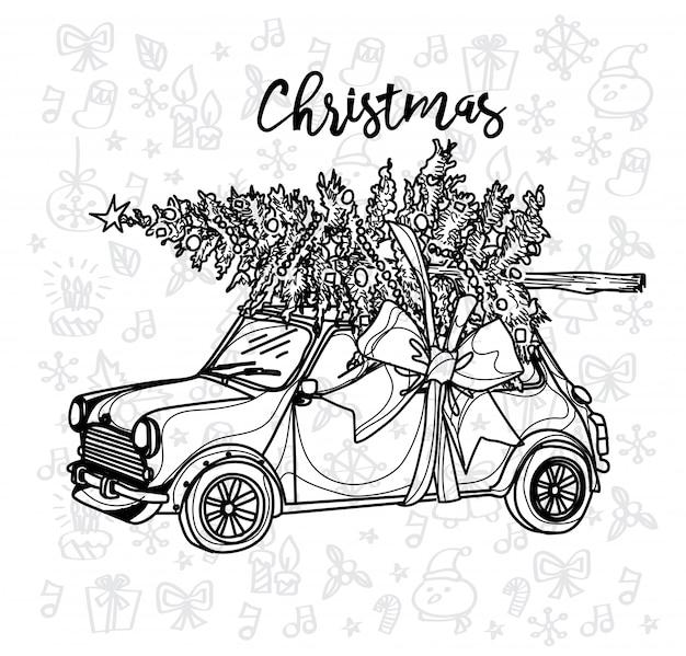 Weihnachtsauto-weinleseskizze mit einem weihnachtsbaum