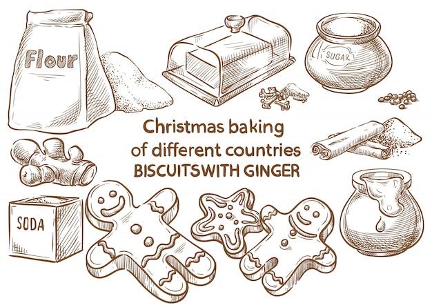 Weihnachtsbäckerei. plätzchen mit ingwer