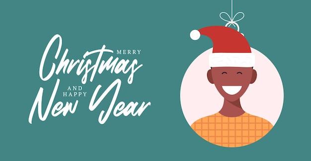 Weihnachtsbälle mit nettem personencharaktermann in sankt-hut. frohe weihnachten und ein glückliches neues jahr grußkartenbanner cartoon winterurlaub set