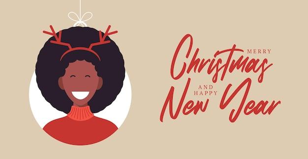 Weihnachtsbälle mit niedlichen personencharakterfrauenhirschhuthörnern. frohe weihnachten und ein glückliches neues jahr grußkartenbanner cartoon winterurlaub set