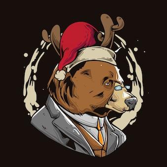 Weihnachtsbär cartoon Premium Vektoren