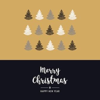 Weihnachtsbäume kritzeln zeichnung gruß gold hintergrund