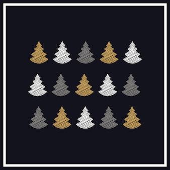 Weihnachtsbäume kritzeln zeichnungsgrußkartenhintergrund