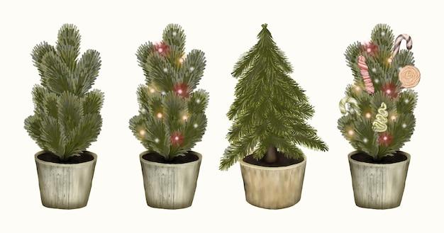Weihnachtsbäume mit dekorationen und girlande