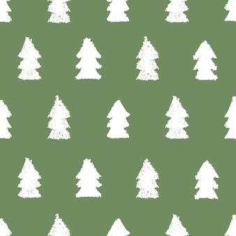 Weihnachtsbäume nahtloses muster. handbemalte pastellkreide. grunge-hintergrund. gestaltungselement für weihnachtstapeten, einladungen, scrapbooking, stoffdruck etc. vektorillustration.