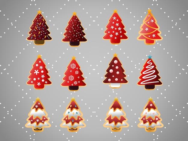 Weihnachtsbäume-plätzchen-sammlung