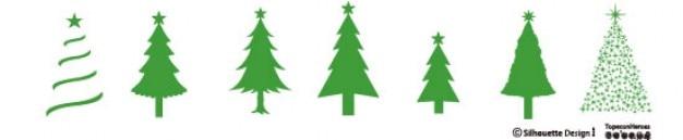Weihnachtsbäume. verschiedenen stilen.