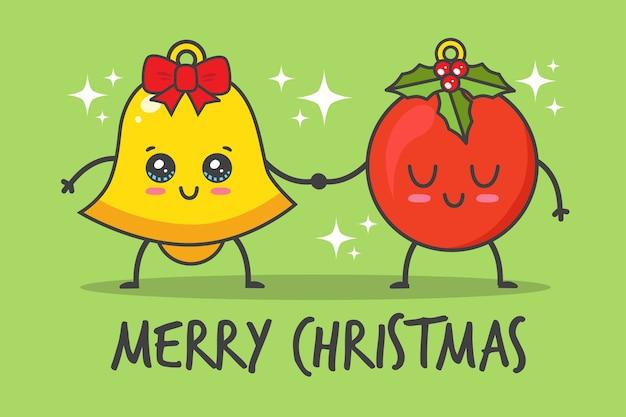 Weihnachtsball und glocke händchen haltend
