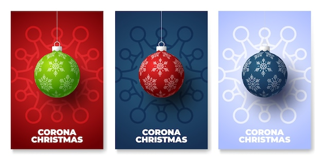Weihnachtsball und quarantäne coronavirus gefahr poster set