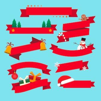 Weihnachtsbandkollektion im flachen design