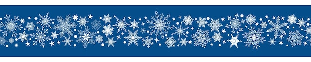 Weihnachtsbanner aus verschiedenen komplexen großen und kleinen schneeflocken mit horizontaler nahtloser wiederholung, weiß auf blauem hintergrund