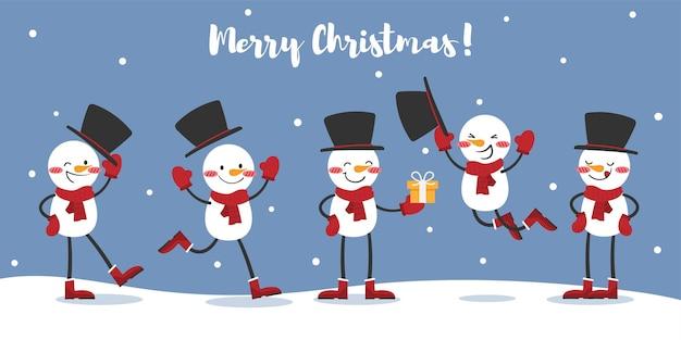 Weihnachtsbanner einer gruppe von schneemännern trägt roten schal und schwarzen hut auf schneeboden