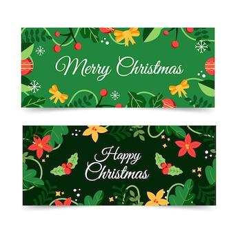 Weihnachtsbanner im flachen design