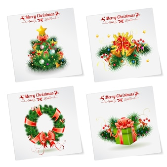 Weihnachtsbanner mit baum, geschenken, kranz, etiketten und glocke. vektorvorlage für cover, flyer, broschüre, grußkarte.