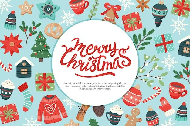 Weihnachtsbanner mit beschriftung und niedlichen saisonalen elementen Premium Vektoren
