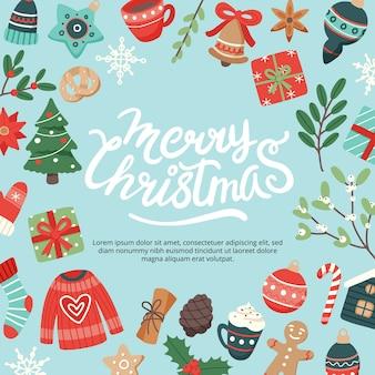 Weihnachtsbanner mit beschriftung und niedlichen saisonalen elementen
