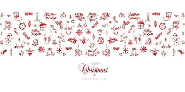 Weihnachtsbanner mit designelementen im doodle-stil