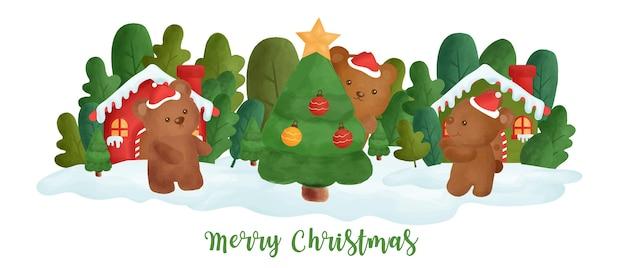 Weihnachtsbanner mit einem niedlichen bären im schneedorf.