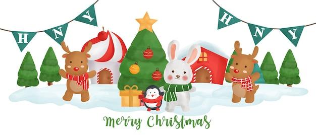 Weihnachtsbanner mit einem niedlichen kaninchen und freunden im schneedorf.