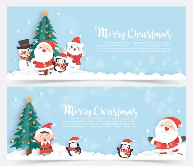 Weihnachtsbanner mit einem weihnachtsmann und freunden im papierschnitt und im handwerksstil.