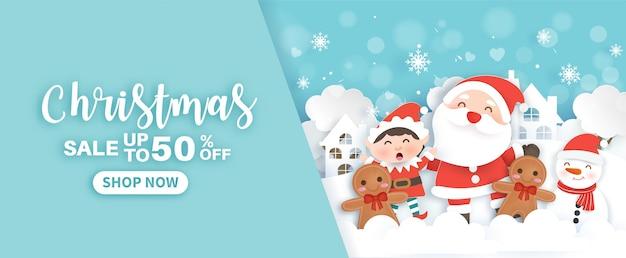 Weihnachtsbanner mit einem weihnachtsmann und weihnachtselementen im schneedorf-papierschnitt und im handwerksstil.