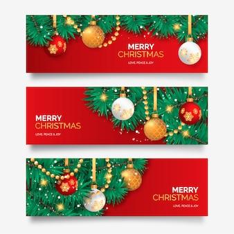 Weihnachtsbanner mit eleganter dekoration
