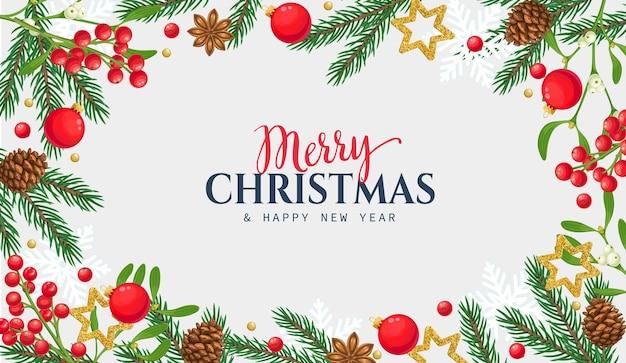 Weihnachtsbanner mit fichtenzweigen, tannenzapfen, weihnachtsschmuck und stechpalmenbeeren.